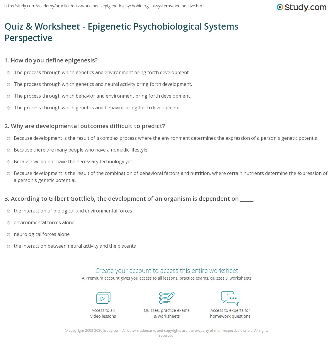 Uncategorized Predicting Outcomes Worksheets quiz worksheet epigenetic psychobiological systems perspective why are developmental outcomes difficult to predict