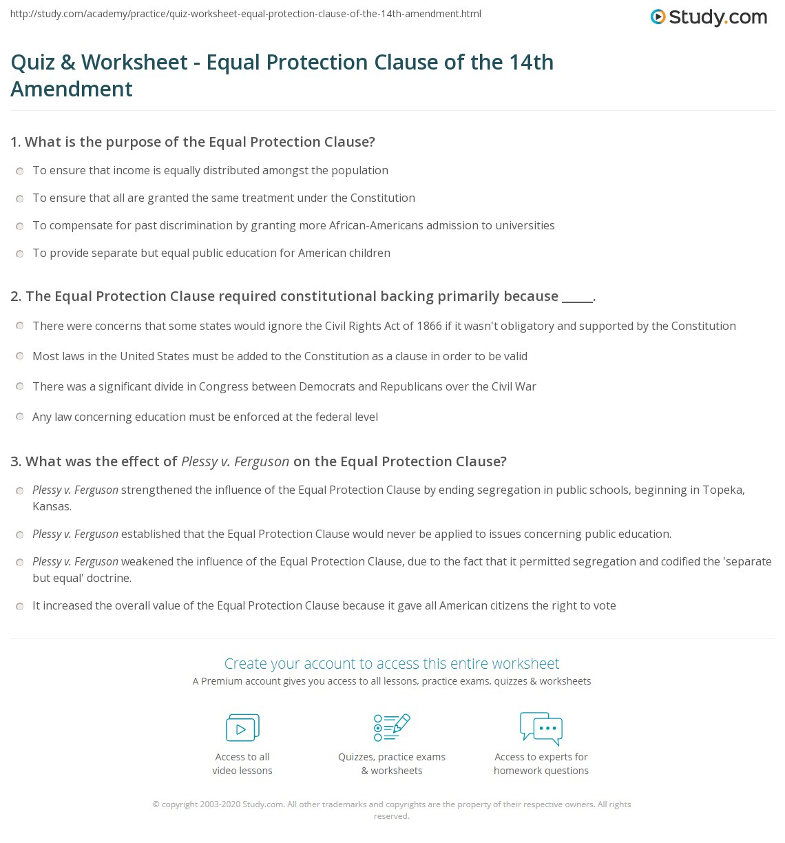Quiz & Worksheet - Equal Protection Clause of the 14th Amendment ...