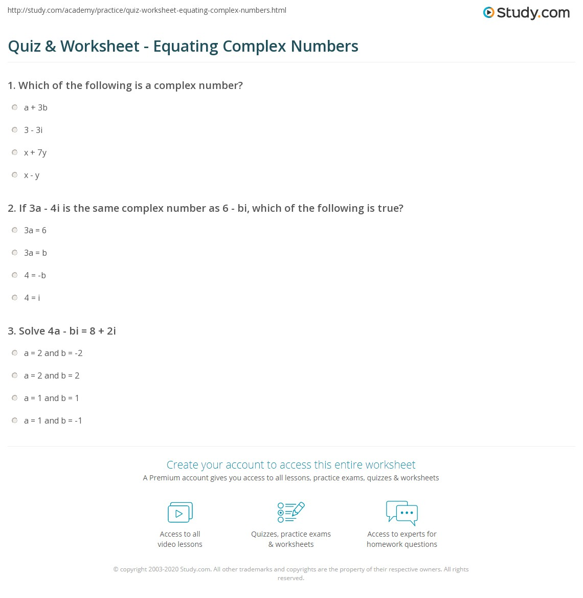 worksheet Complex Number Worksheet quiz worksheet equating complex numbers study com print how to equate two worksheet