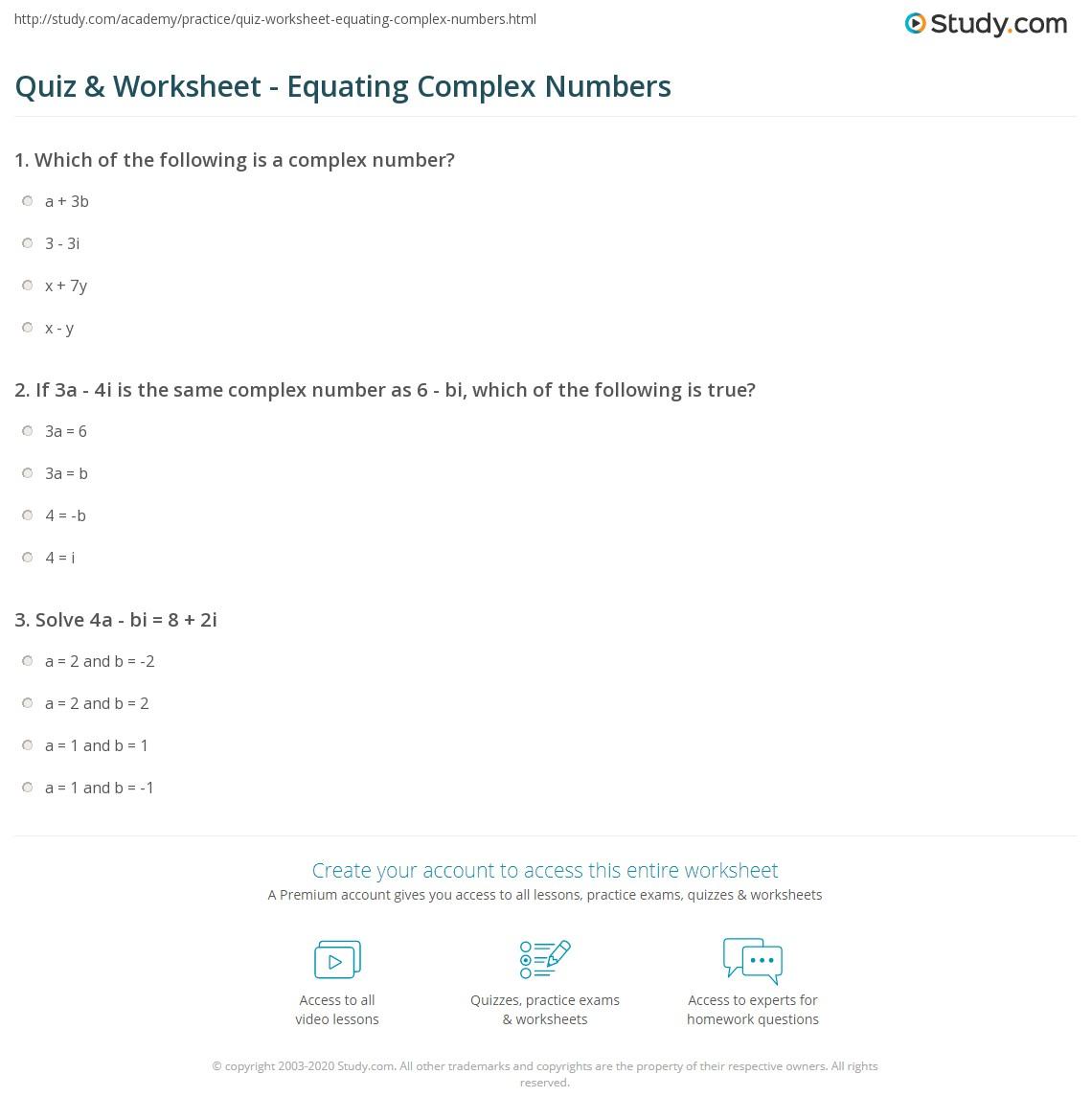 Quiz & Worksheet - Equating Complex Numbers | Study.com