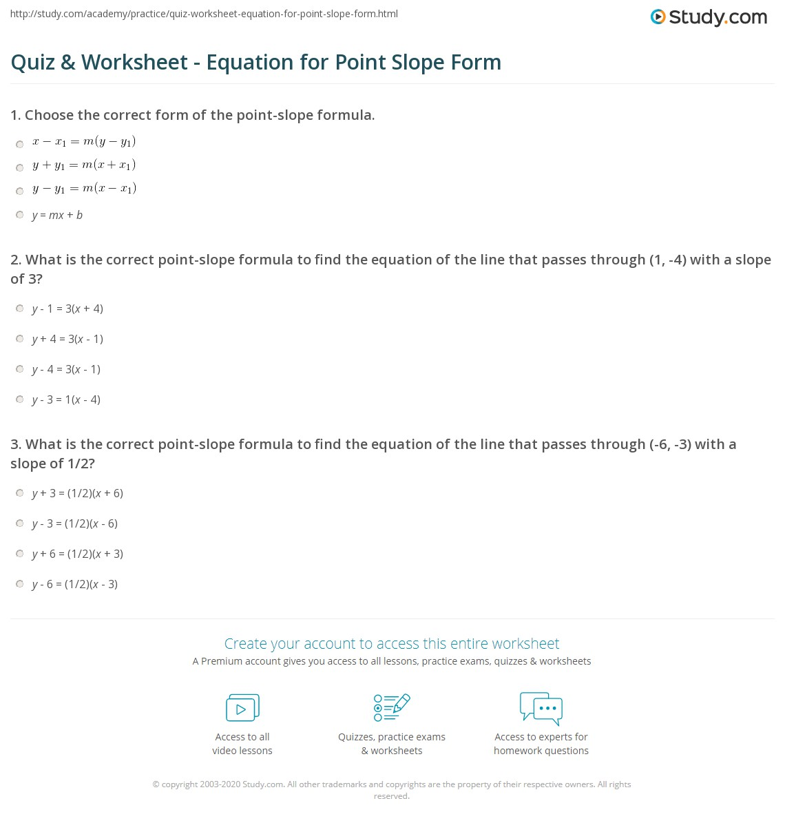 Quiz & Worksheet - Equation for Point Slope Form | Study.com