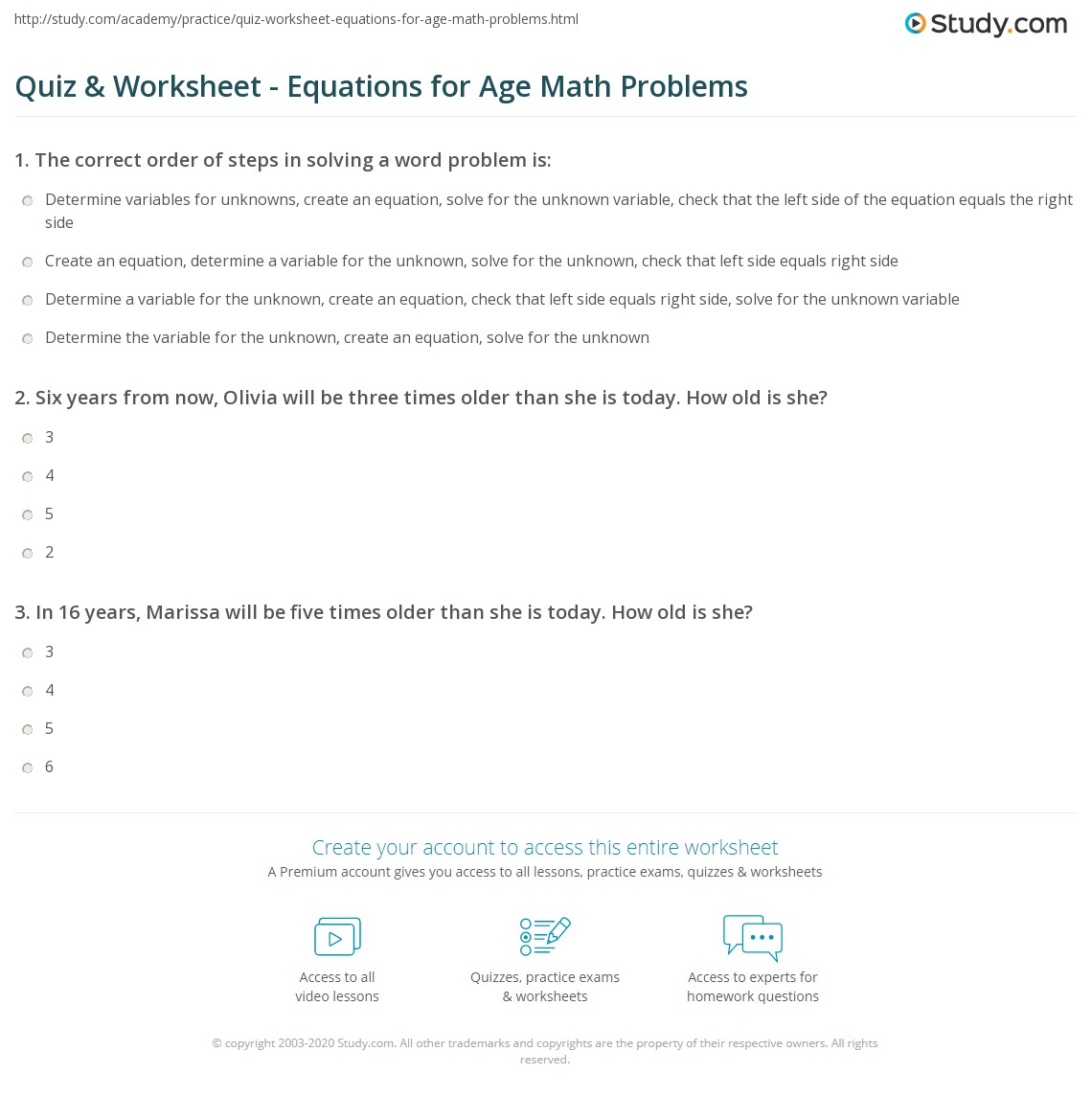 worksheet Age Word Problems Worksheet quiz worksheet equations for age math problems study com print using to solve in worksheet