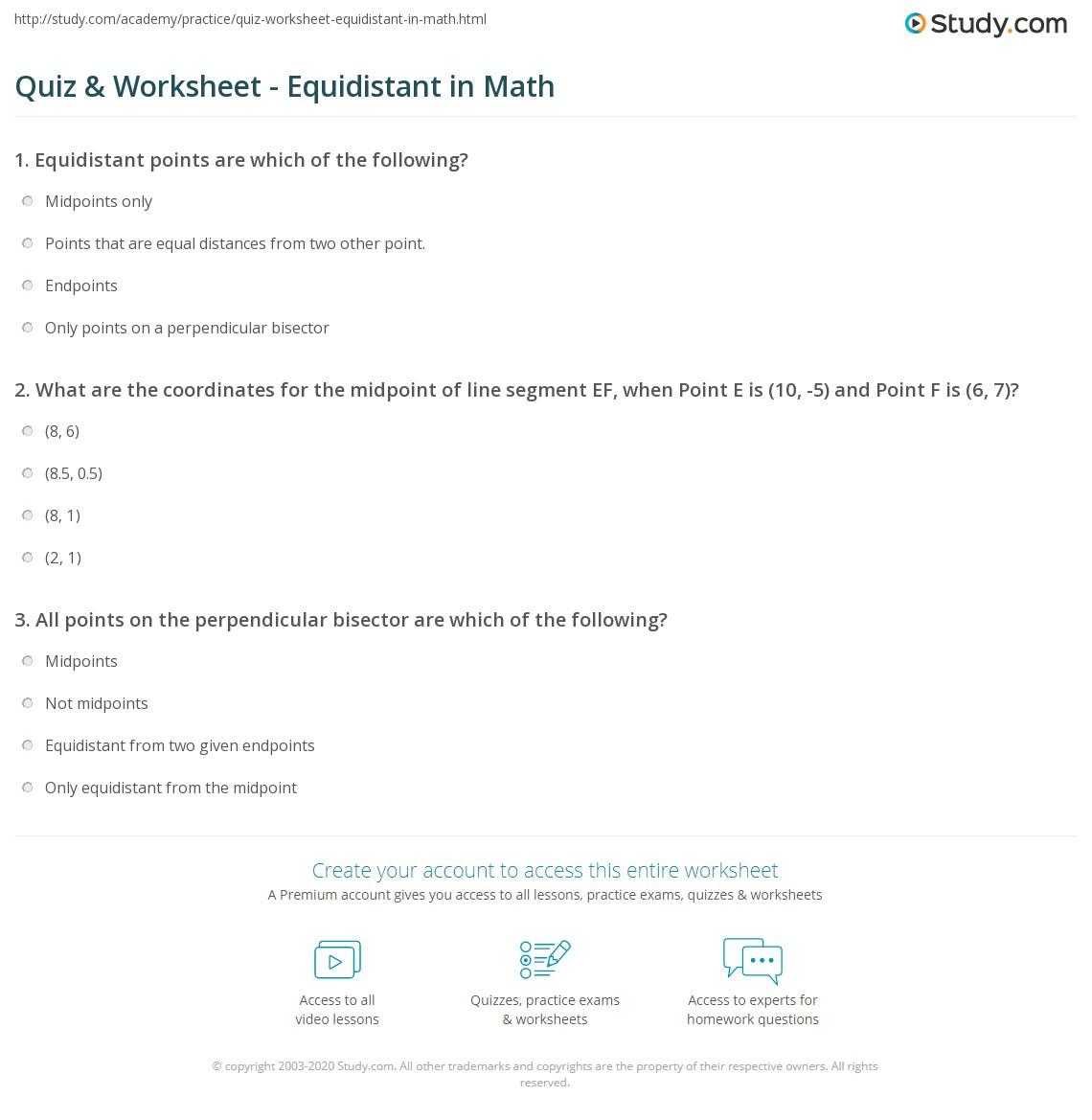 Uncategorized Line Segment Worksheets quiz worksheet equidistant in math study com what are the coordinates for midpoint of line segment ef when point e is 10 5 and f 6 7