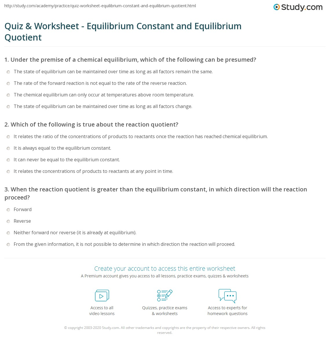 Print Equilibrium Constant (K) and Reaction Quotient (Q) Worksheet