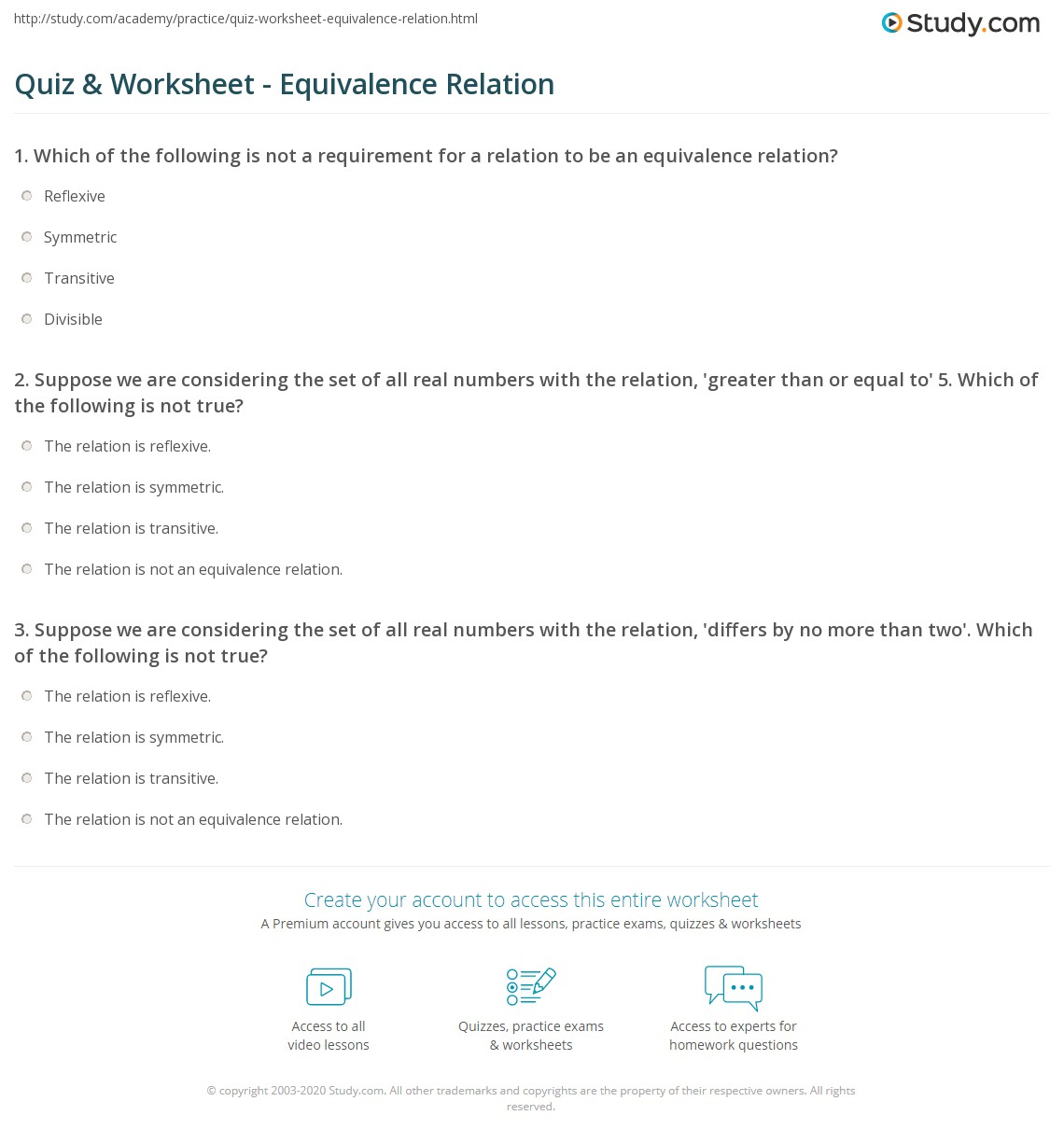 Quiz & Worksheet - Equivalence Relation   Study.com