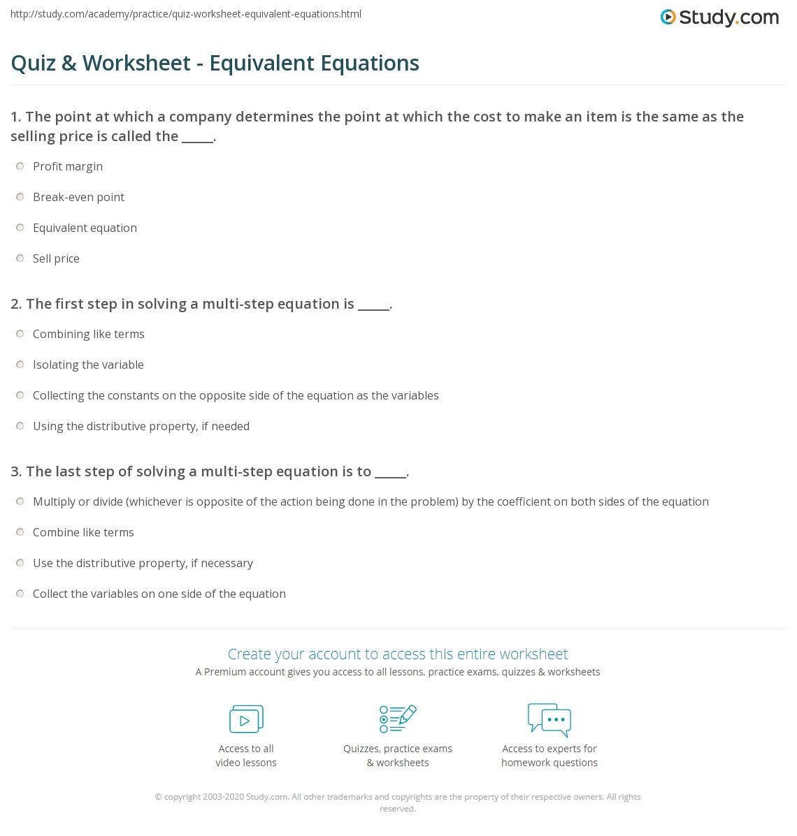 worksheet Equivalent Equations Worksheet quiz worksheet equivalent equations study com print simplifying solving worksheet