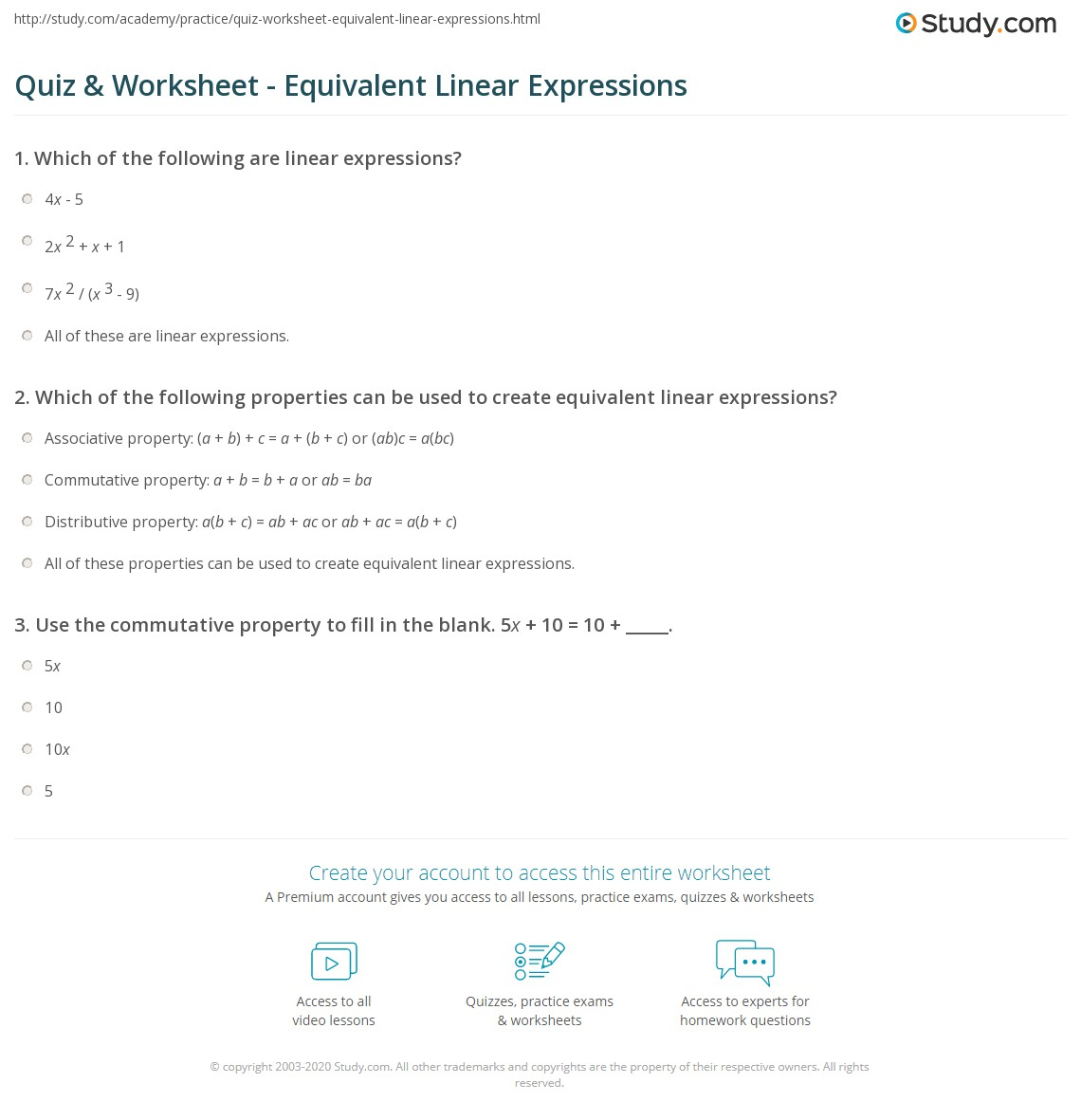Quiz Worksheet Equivalent Linear Expressions Study Com