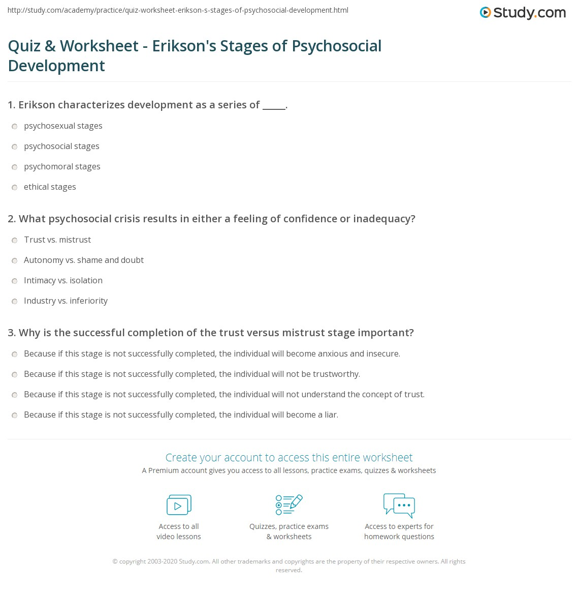 Quiz Worksheet Erikson S Stages Of Psychosocial Development