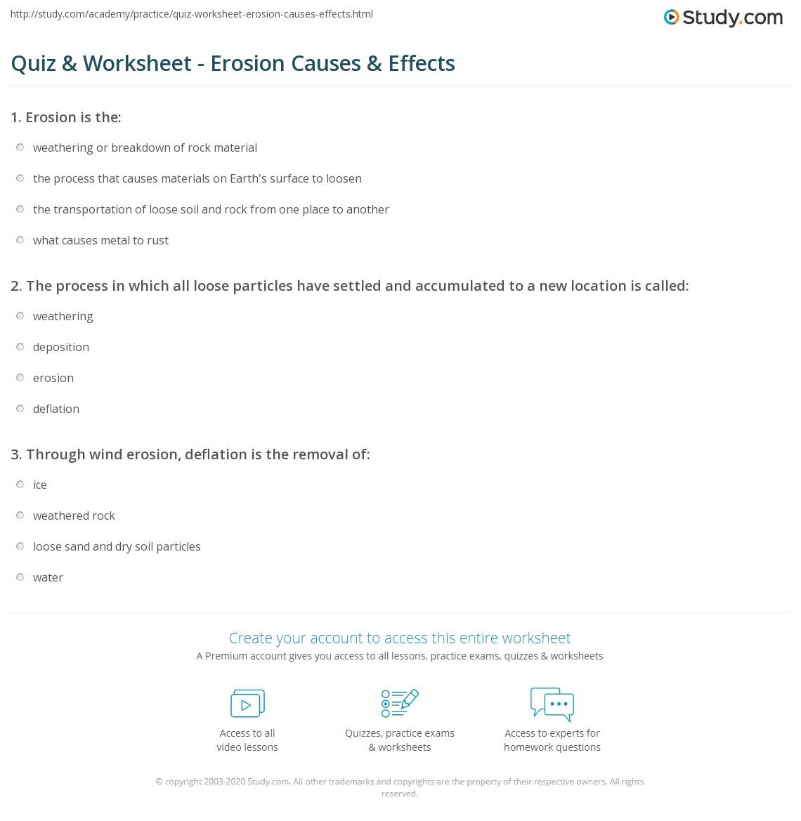 worksheet Erosion Worksheets quiz worksheet erosion causes effects study com print definition worksheet