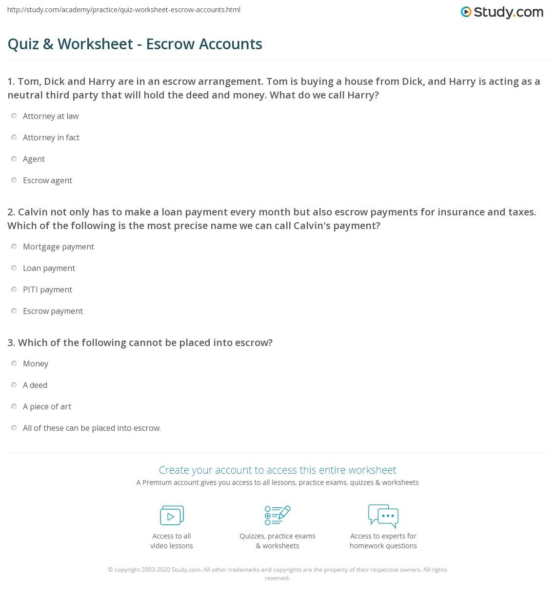 quiz & worksheet - escrow accounts | study