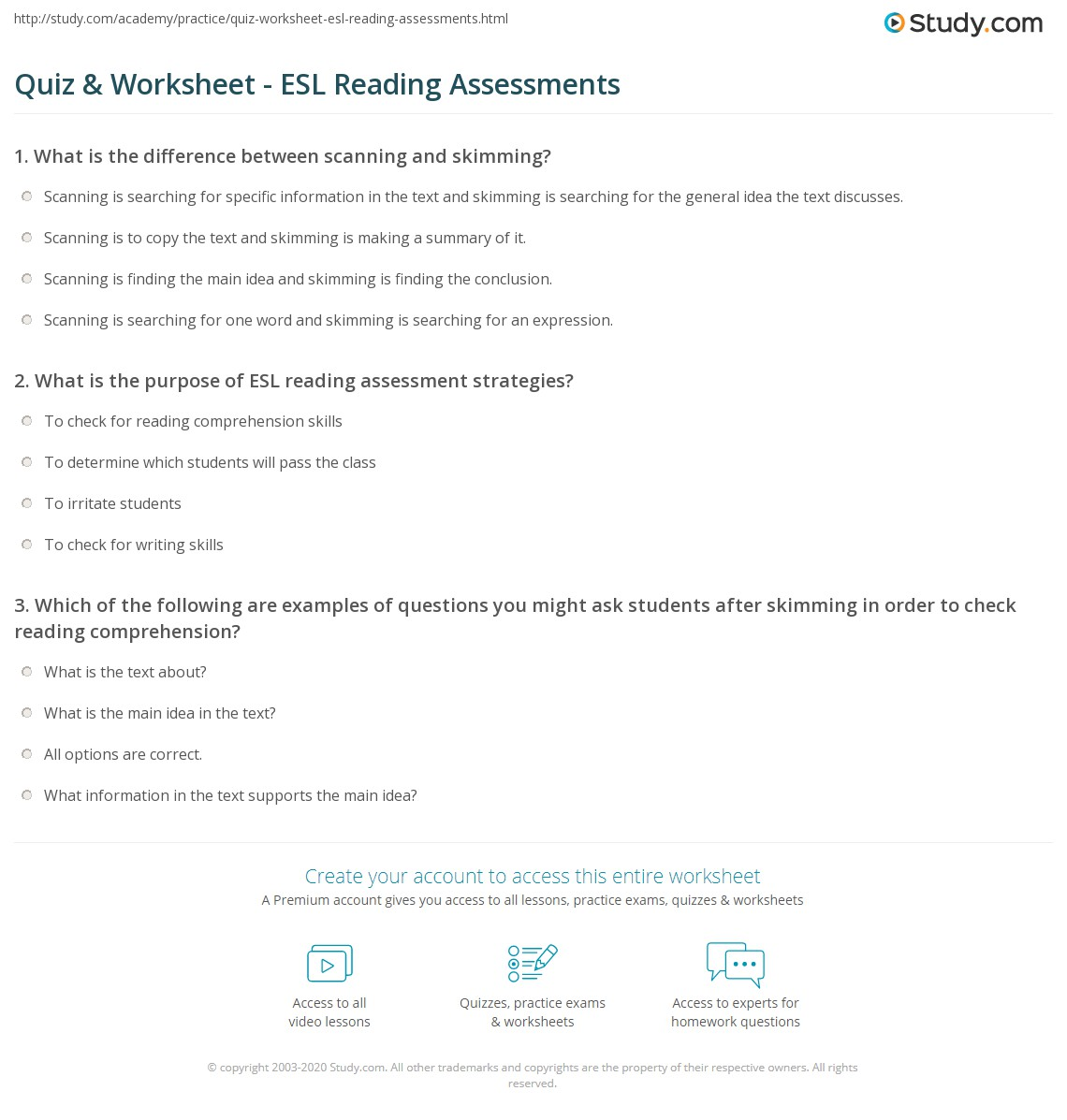 Worksheet Esl Reading quiz worksheet esl reading assessments study com print assessment strategies worksheet