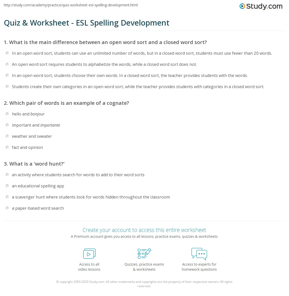 Quiz & Worksheet - ESL Spelling Development | Study.com