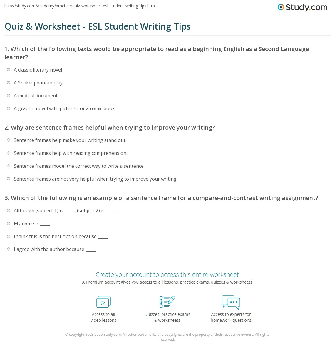 worksheet Esl Writing Worksheets quiz worksheet esl student writing tips study com print strategies for students worksheet