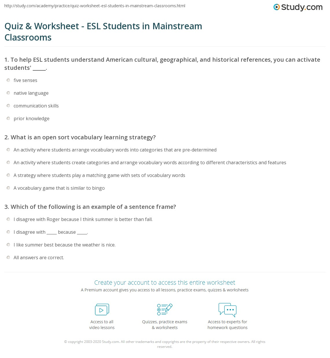 Quiz Worksheet Esl Students In Mainstream Classrooms Study