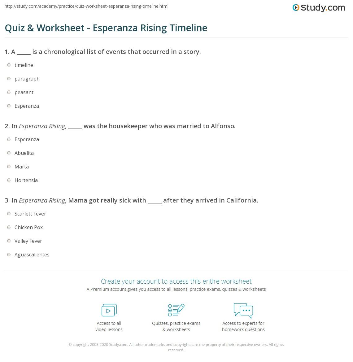worksheet Parallel Timelines Worksheet quiz worksheet esperanza rising timeline study com print worksheet