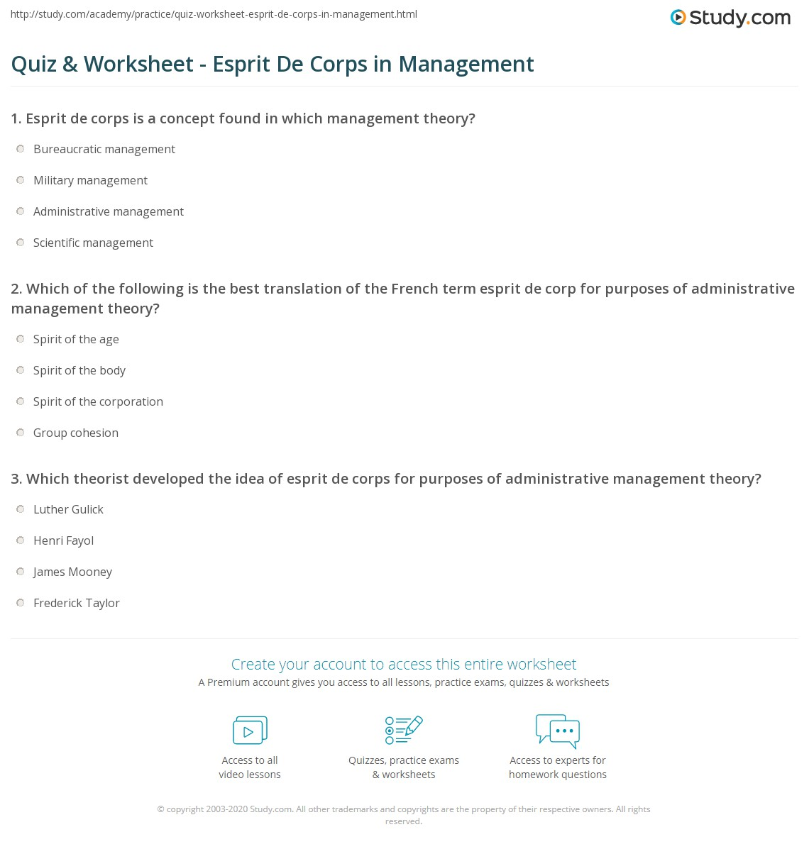 quiz & worksheet - esprit de corps in management | study