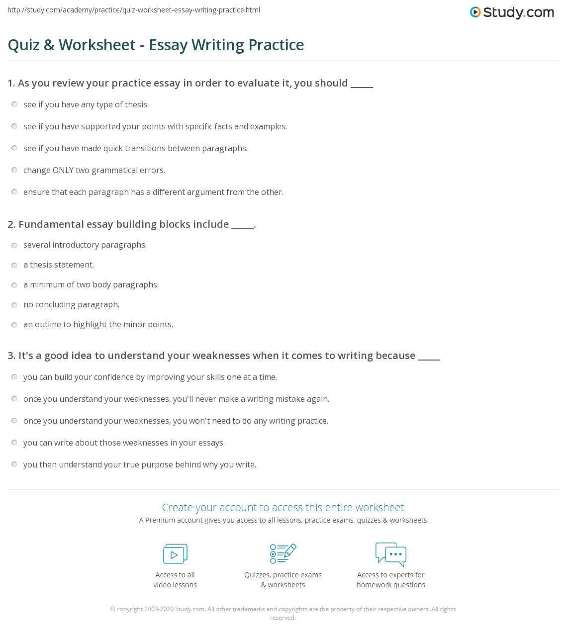 practicing essay writing Look at the essay and do the exercises to practise and improve your writing skills preparation are these points about video games or sports circle the correct subject.
