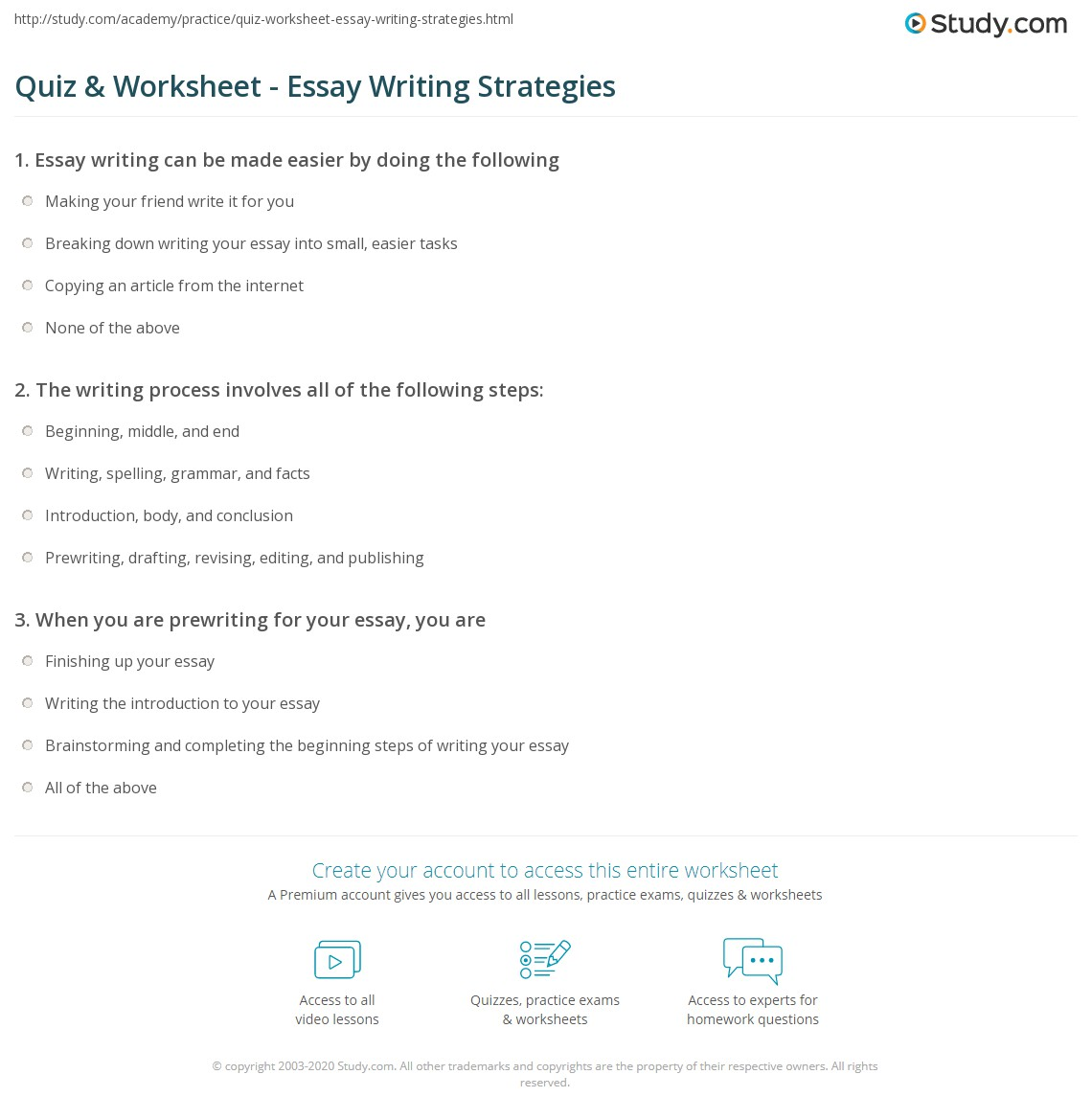 Help for essay writing quiz questions