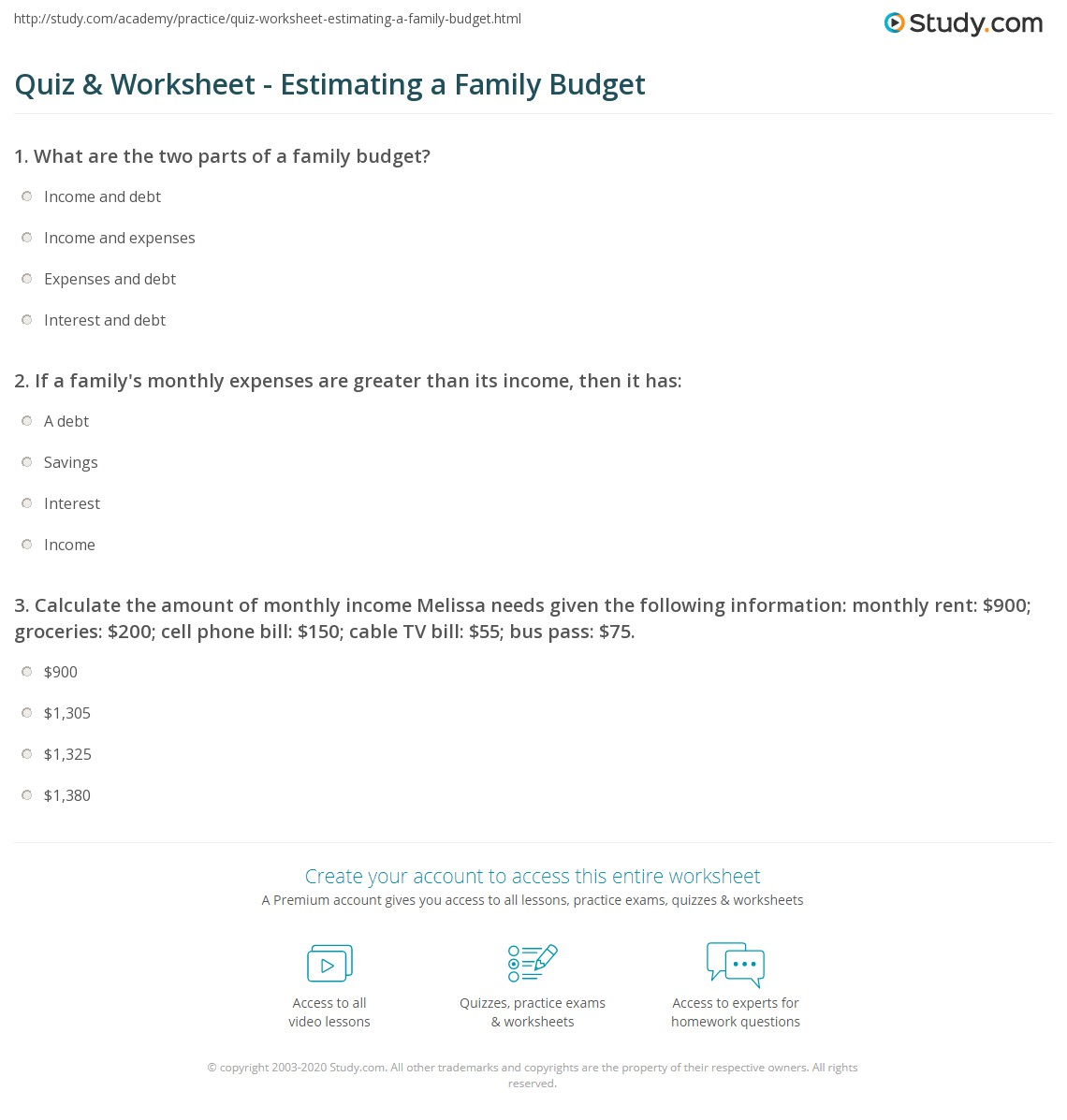 quiz worksheet estimating a family budget study com