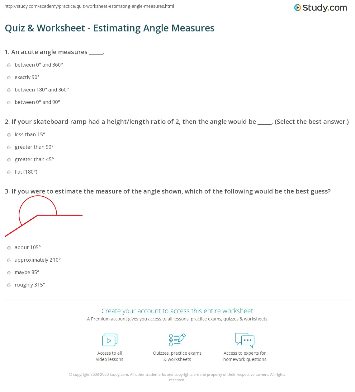 Quiz Worksheet Estimating Angle Measures Study