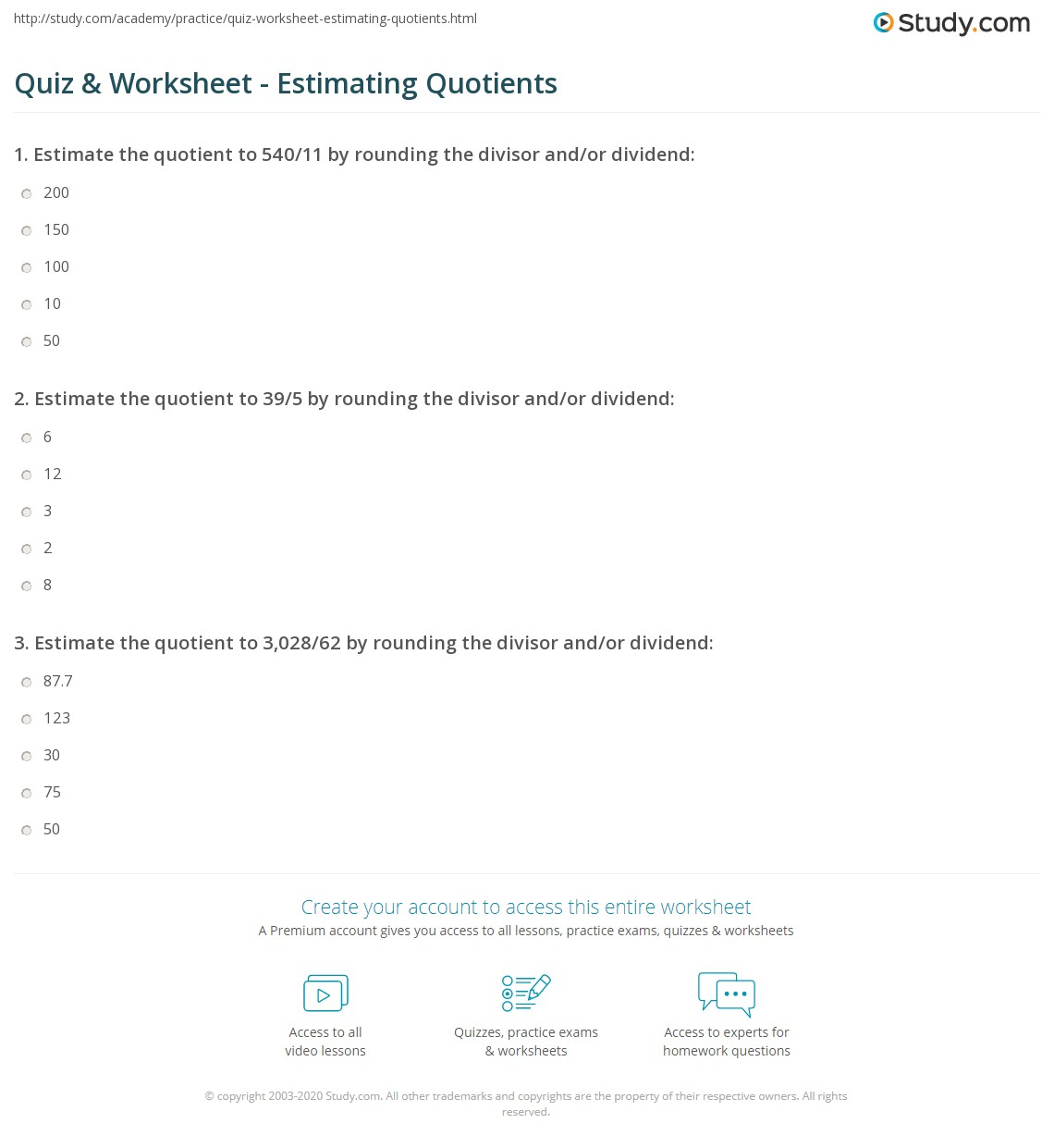 Quiz Worksheet Estimating Quotients Study Com