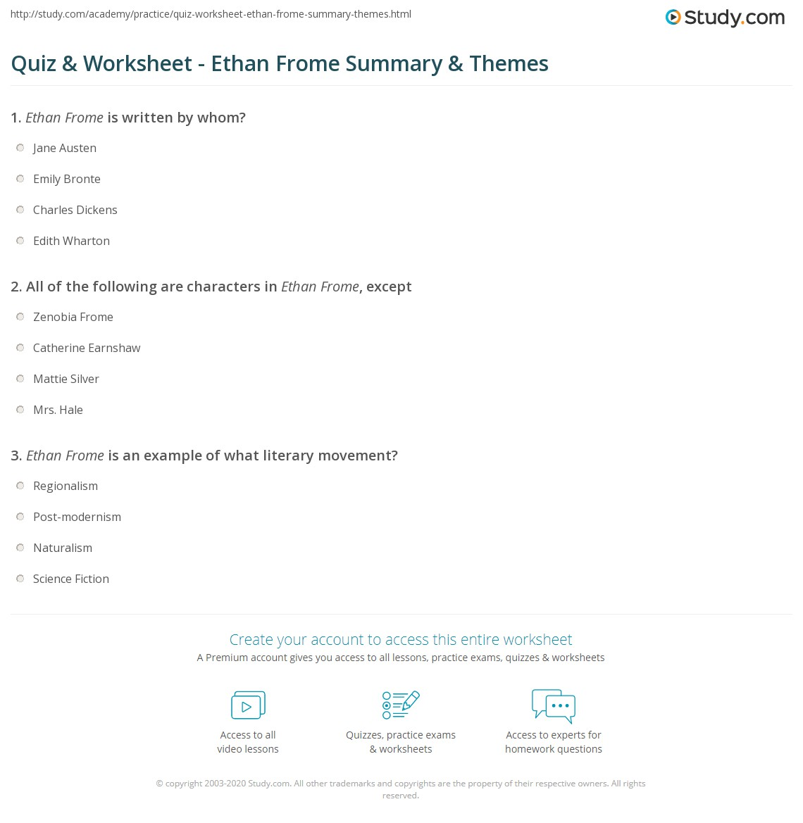 quiz worksheet ethan frome summary themes com print ethan frome summary characters setting themes worksheet