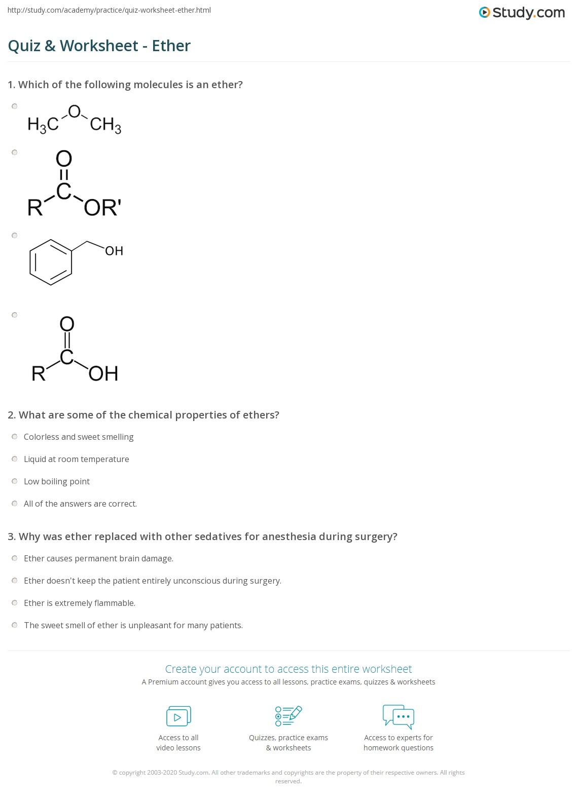Quiz Worksheet Ether