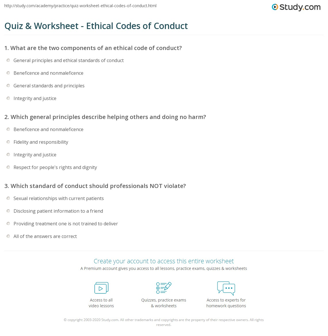 Print Ethical Code Of Conduct: Definition U0026 Example Worksheet