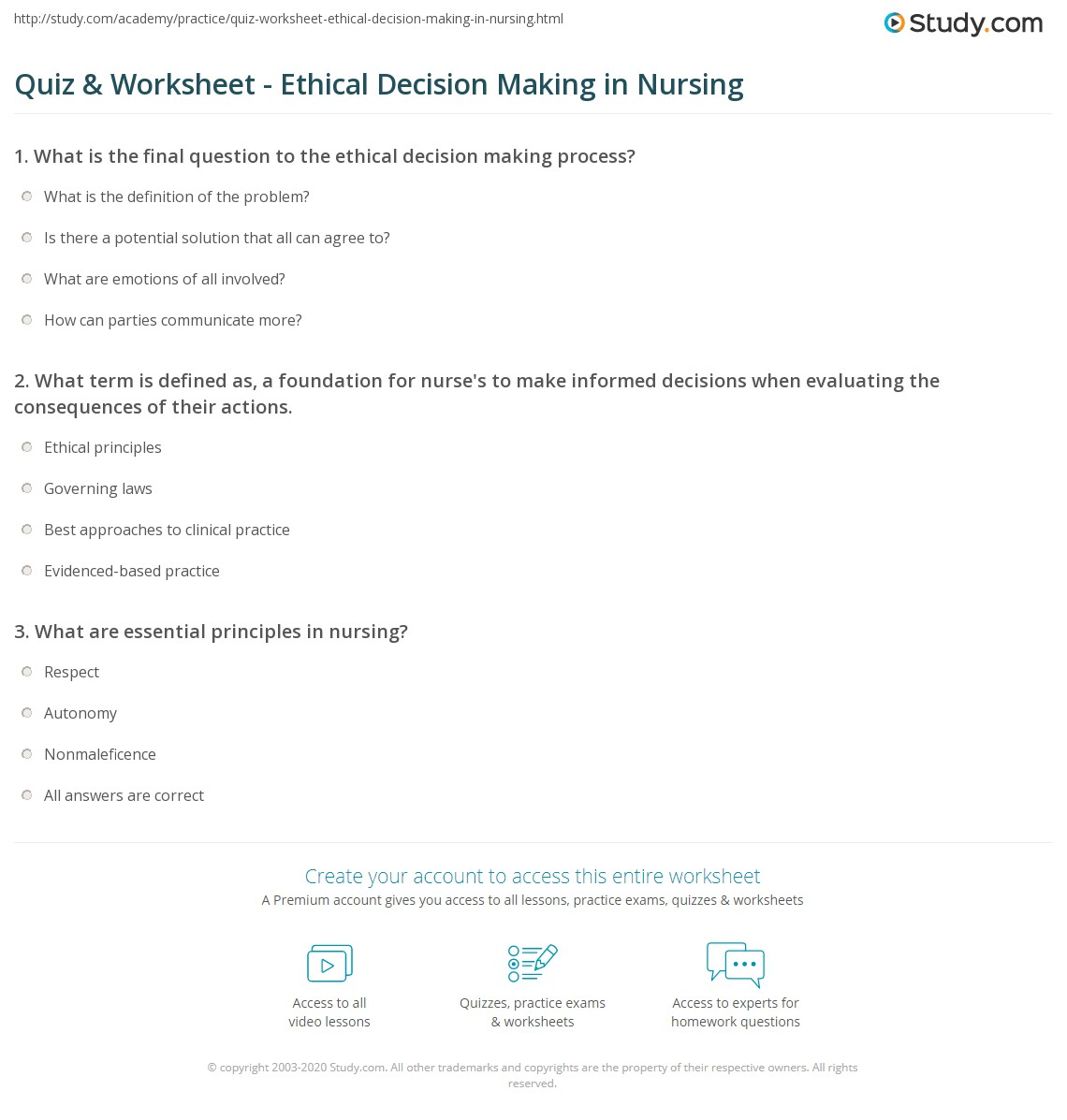 quiz worksheet ethical decision making in nursing. Black Bedroom Furniture Sets. Home Design Ideas