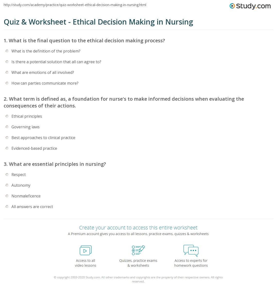 Quiz and Worksheet Ethical Decision Making in Nursing – Nursing Math Worksheets
