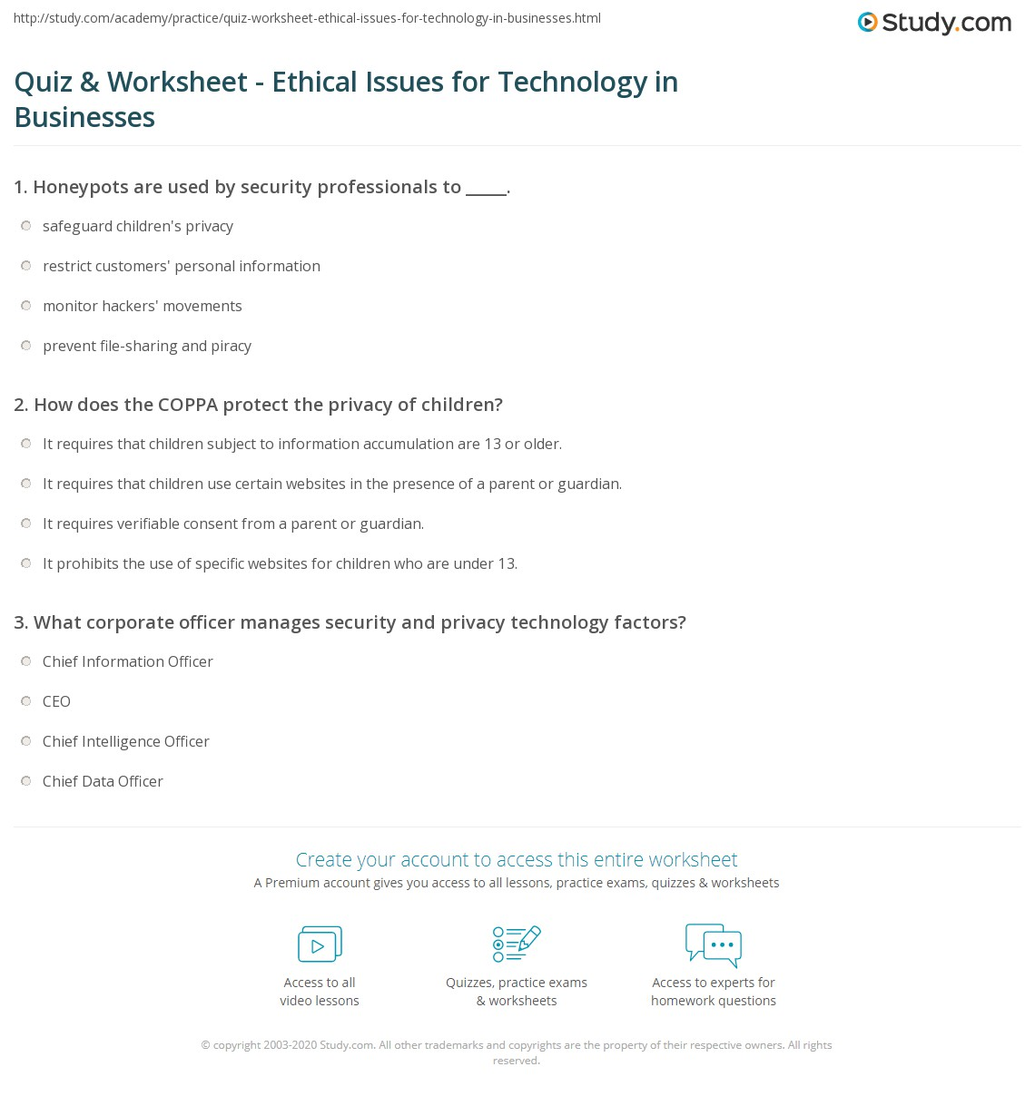 Print Ethical Issues In Managing Technology In Business Worksheet