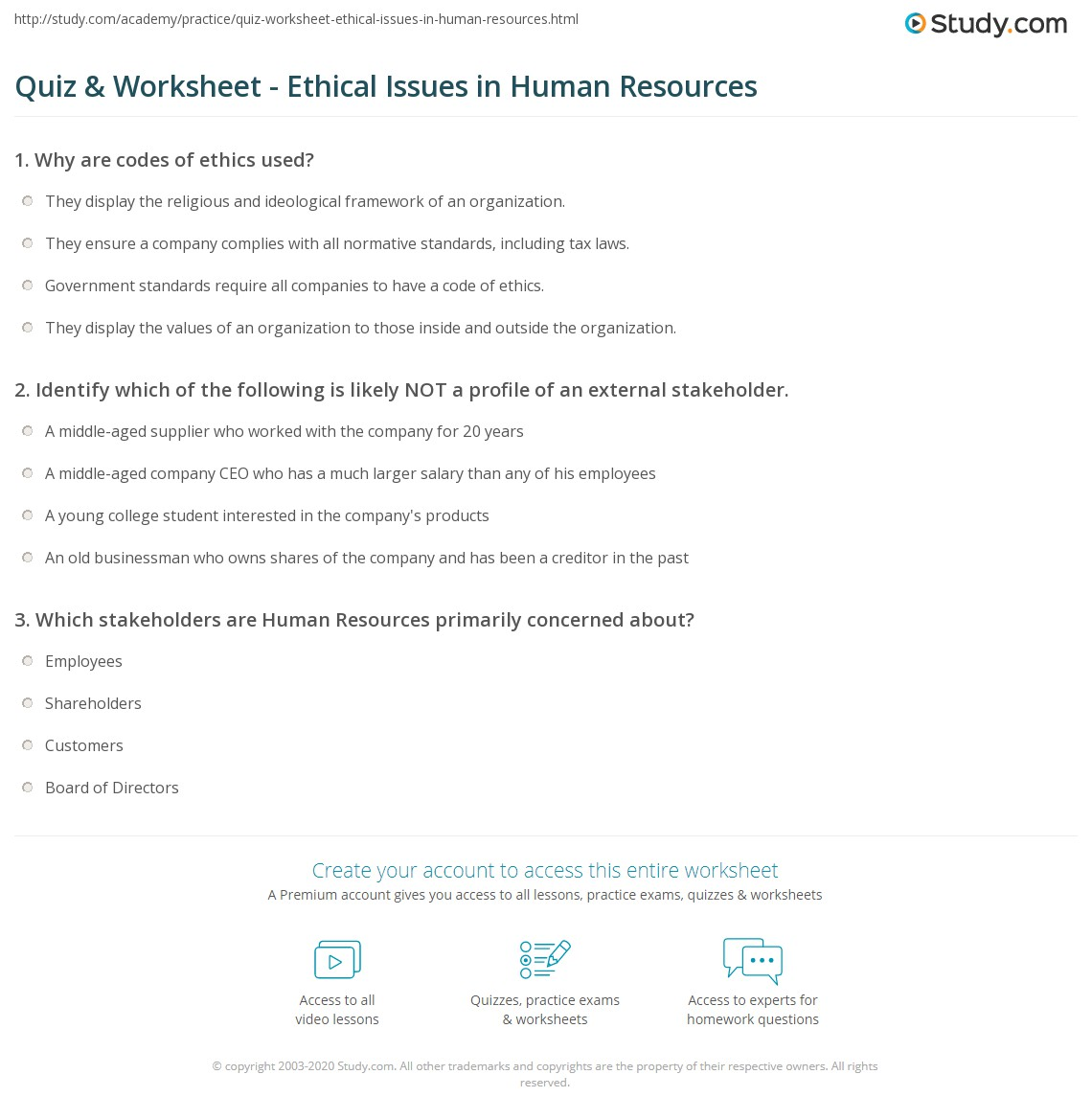 Quiz Worksheet Ethical Issues In Human Resources Study