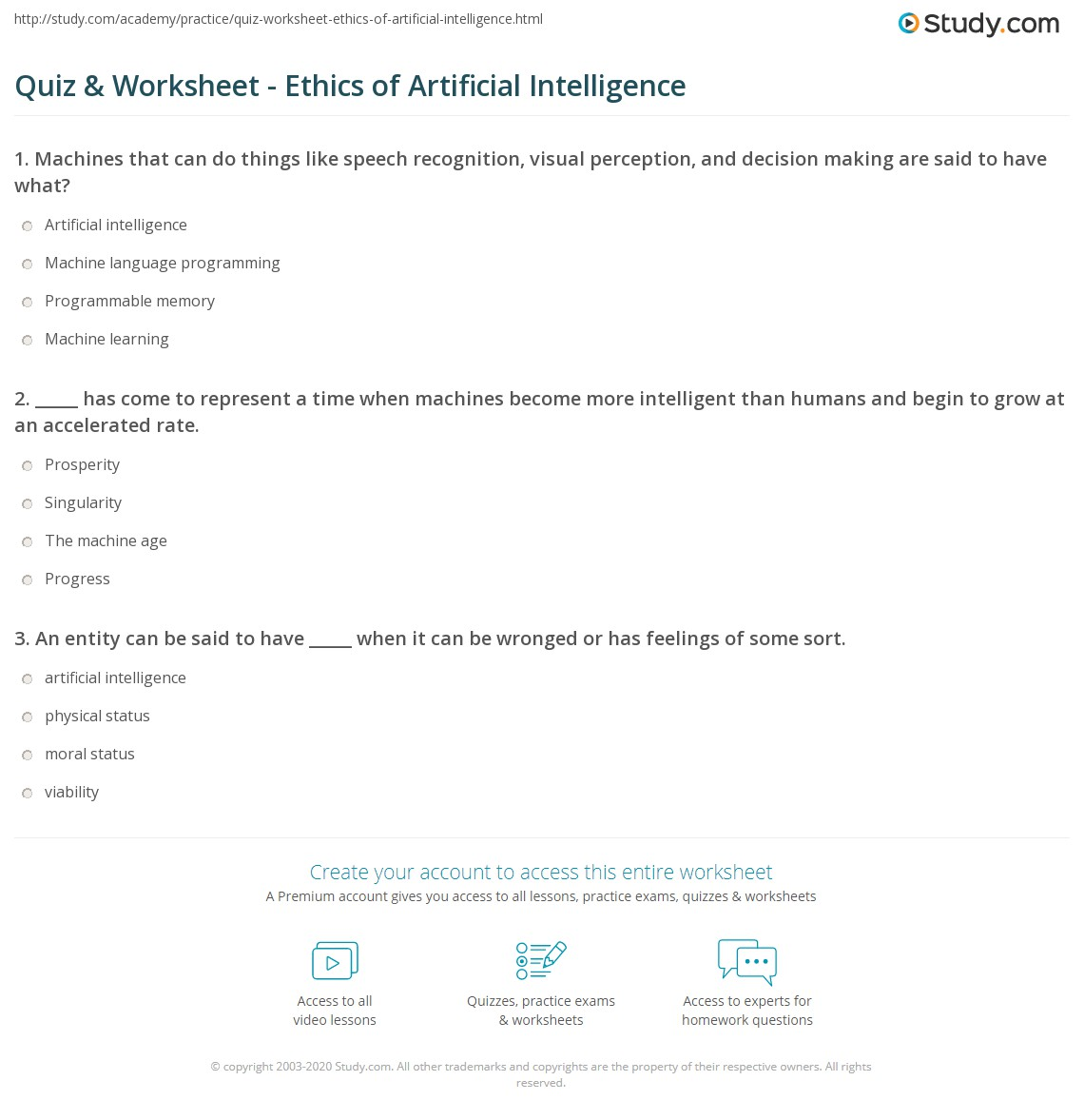 Quiz Worksheet Ethics Of Artificial Intelligence Study Com