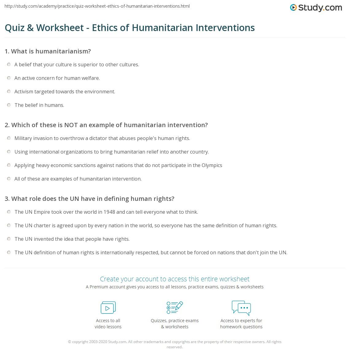 Quiz Worksheet Ethics Of Humanitarian Interventions Study