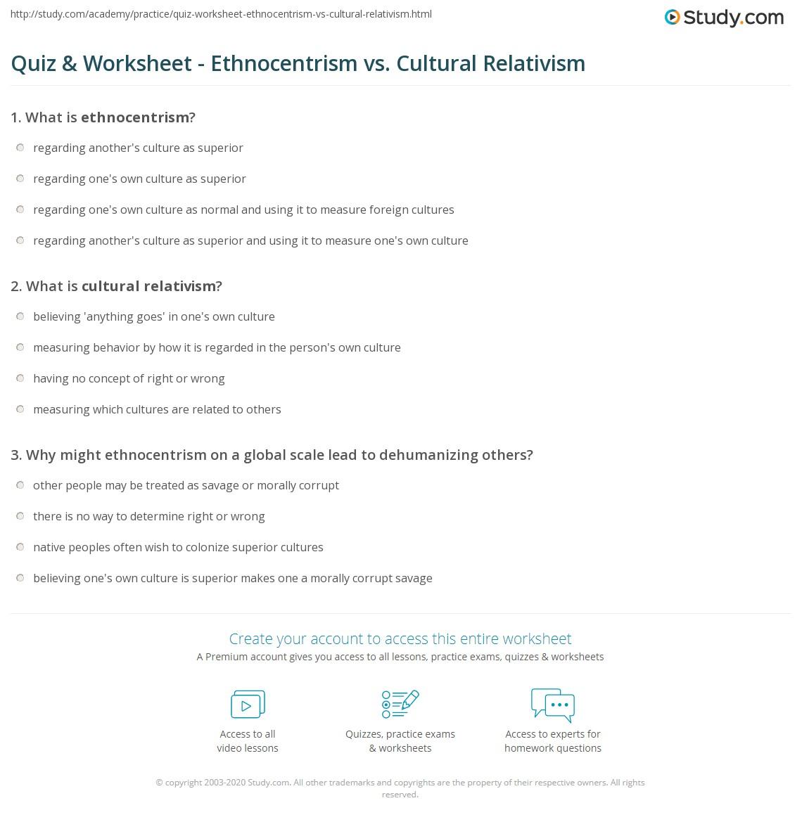 Quiz Worksheet Ethnocentrism Vs Cultural Relativism Study
