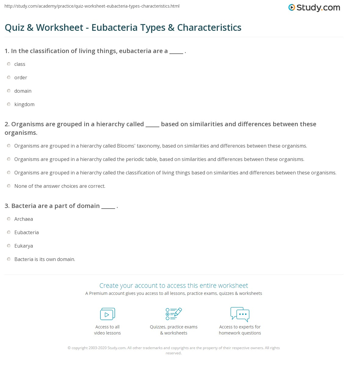 Worksheets Bacteria Worksheet quiz worksheet eubacteria types characteristics study com print kingdom bacteria definition examples worksheet