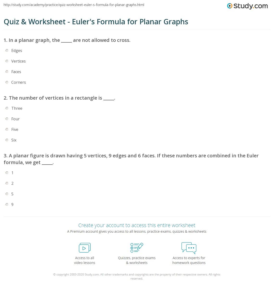 Quiz Worksheet Eulers Formula for Planar Graphs – Faces Edges Vertices Worksheet