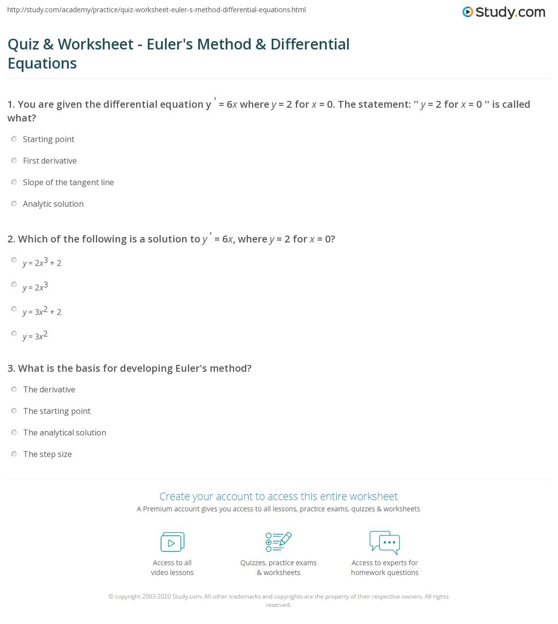 quiz worksheet euler 39 s method differential equations. Black Bedroom Furniture Sets. Home Design Ideas