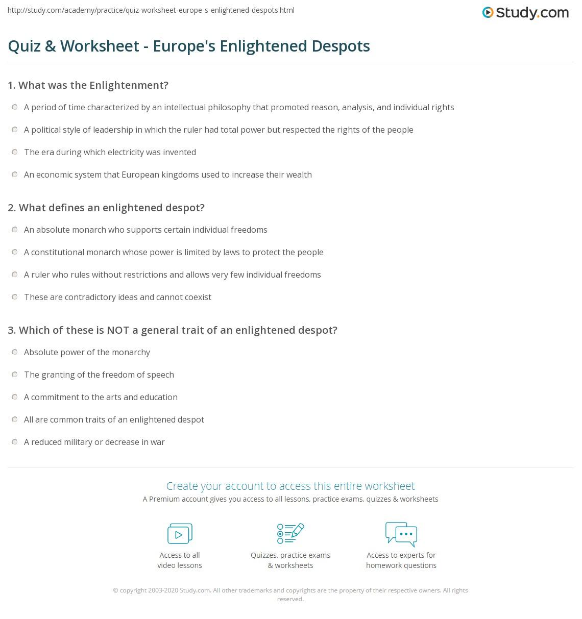 worksheet Europe Worksheets quiz worksheet europes enlightened despots study com print in europe worksheet