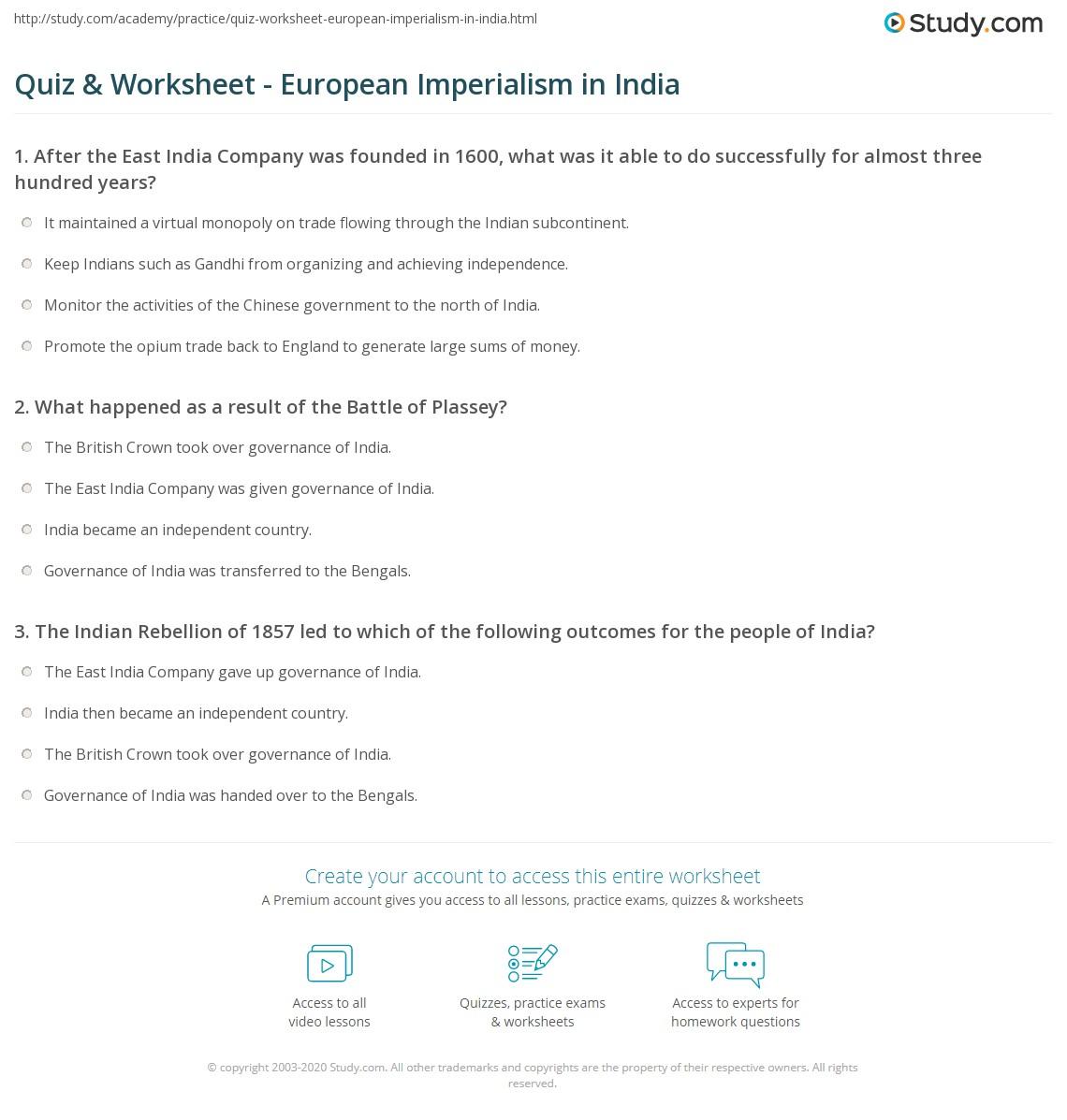 quiz worksheet european imperialism in india. Black Bedroom Furniture Sets. Home Design Ideas