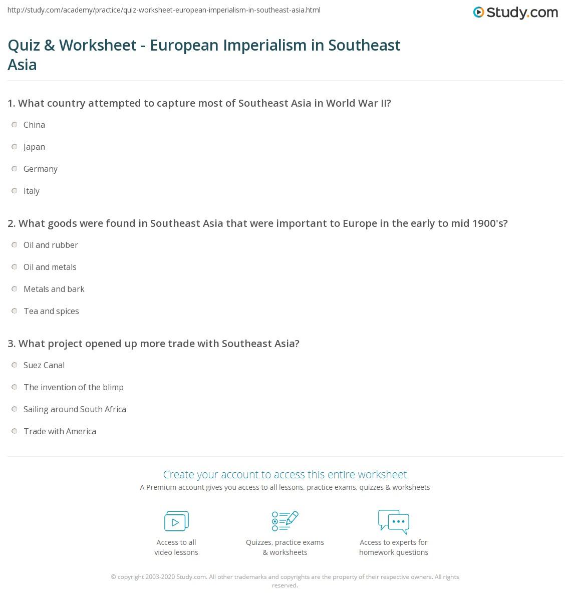 Print Economic Motives For European Colonization Of Southeast Asia Worksheet