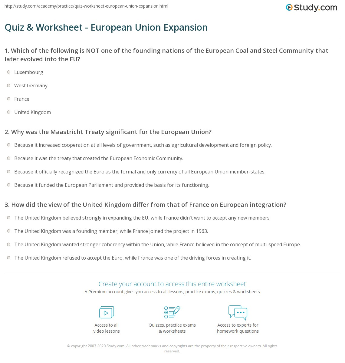 quiz worksheet european union expansion. Black Bedroom Furniture Sets. Home Design Ideas