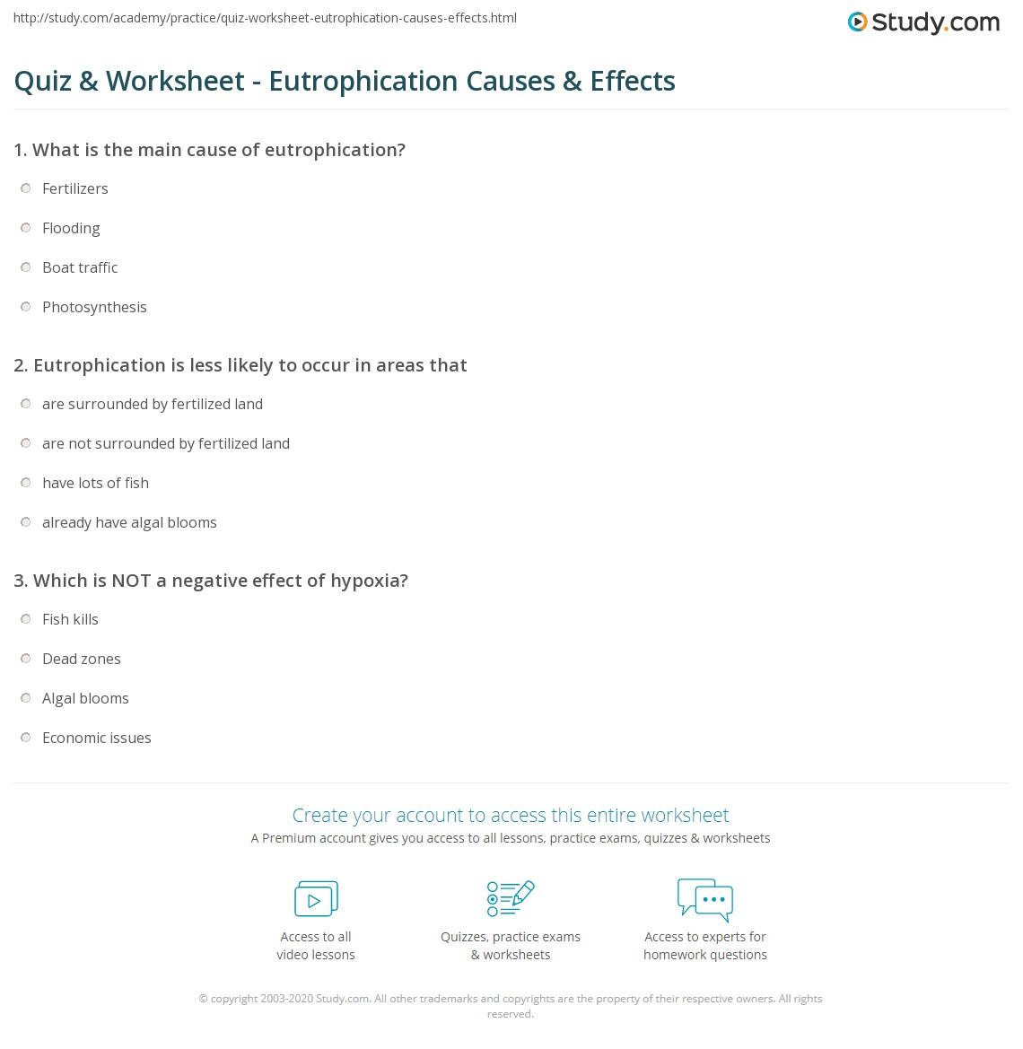 Quiz & Worksheet - Eutrophication Causes & Effects   Study.com