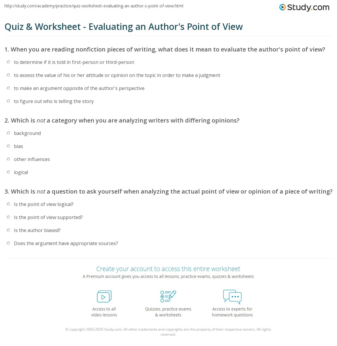 Quiz & Worksheet - Evaluating an Author's Point of View | Study.com