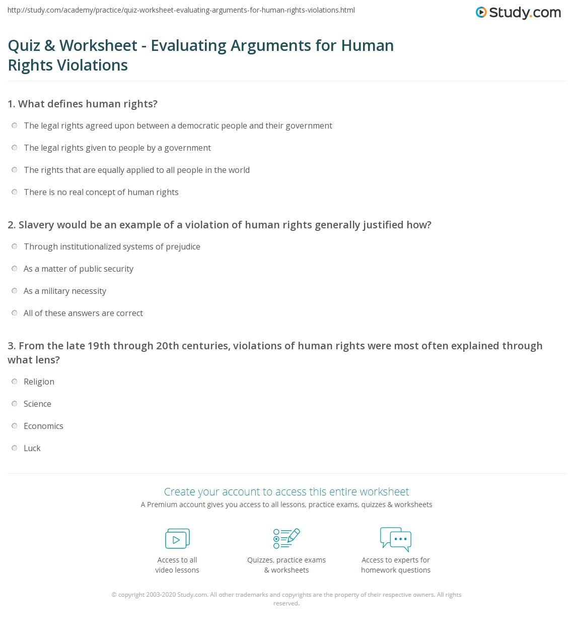 Quiz & Worksheet Evaluating Arguments for Human Rights