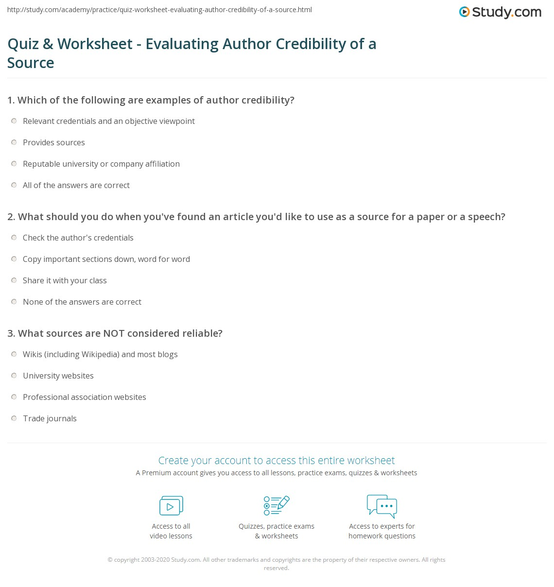 quiz worksheet evaluating author credibility of a source. Black Bedroom Furniture Sets. Home Design Ideas