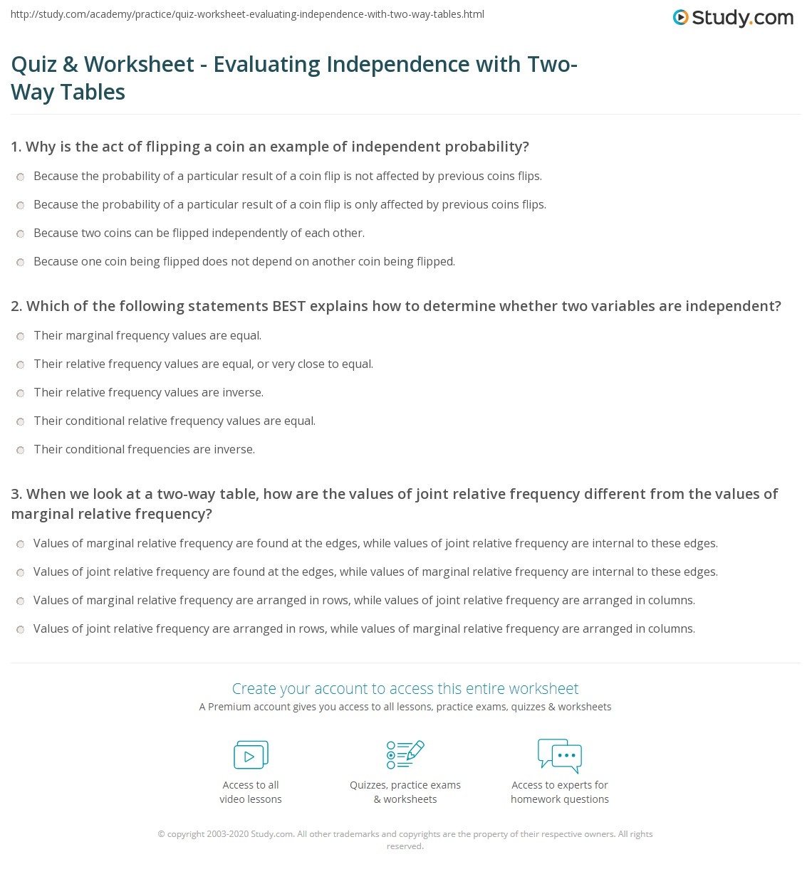 Quiz Worksheet Evaluating Independence With Two Way Tables