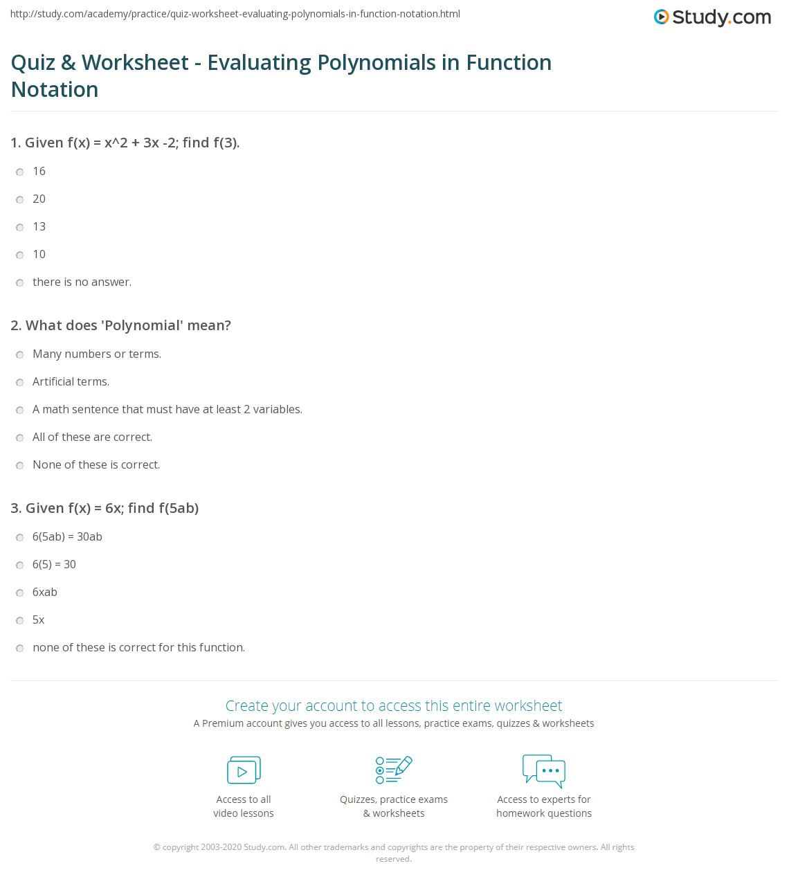 Quiz & Worksheet - Evaluating Polynomials in Function Notation ...