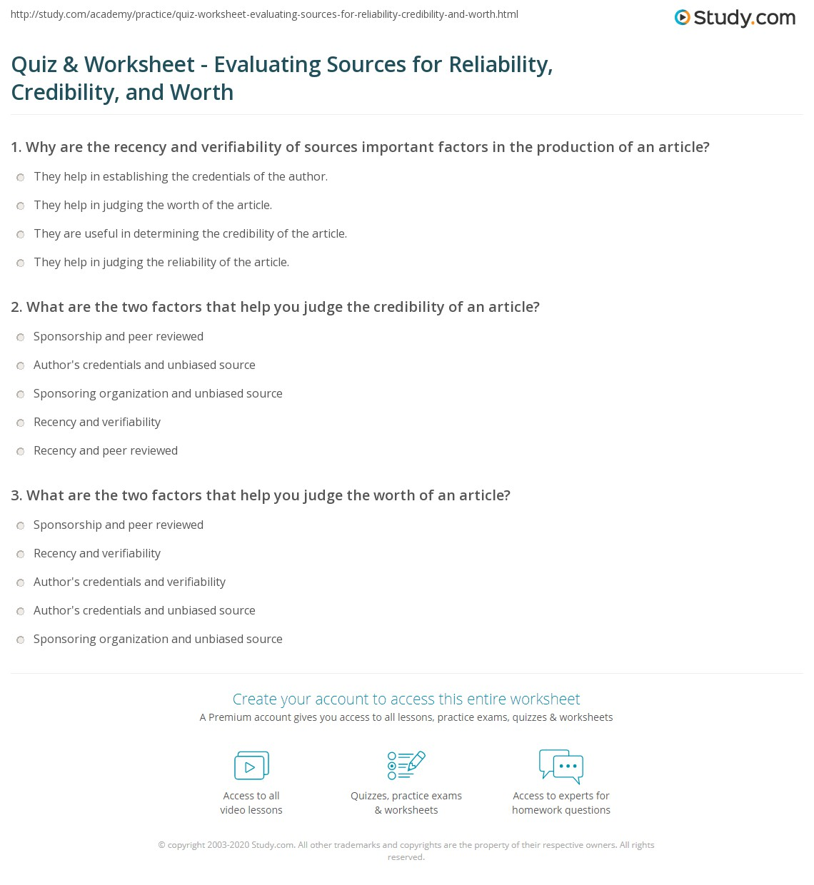 quiz worksheet evaluating sources for reliability credibility and worth. Black Bedroom Furniture Sets. Home Design Ideas