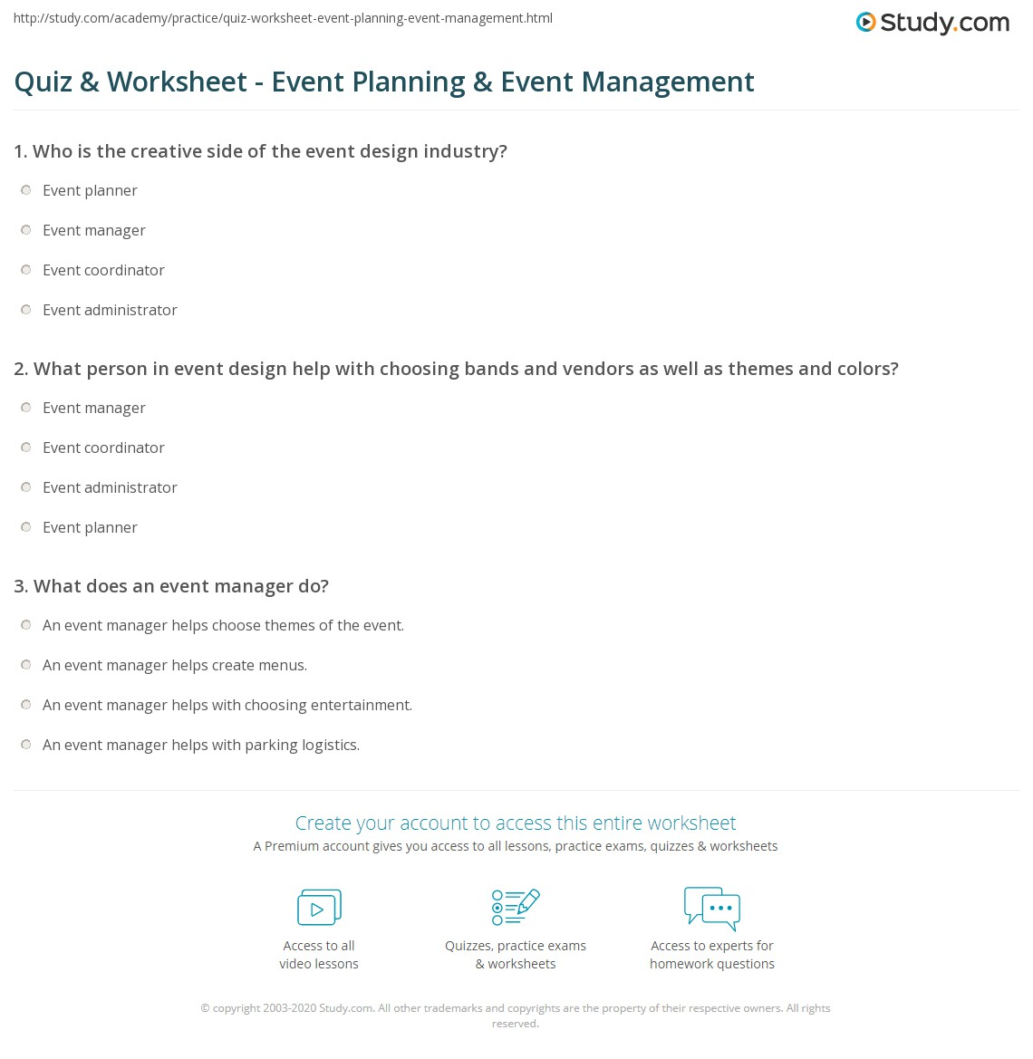 Quiz Worksheet Event Planning Event Management – Event Planning Worksheet
